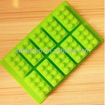 Unique design Lego building brick shape silicone ice-pop mold