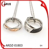 Fashion silver and gold plated stainless steel double rings jewelry pendant