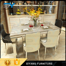 Cheap wholesale victorian furniture dinning table set extendable marble dining table CT004