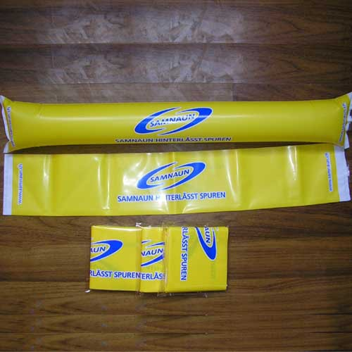 custom printed yellow color inflatable soccer cheer stick hand clap noise maker with logo printing