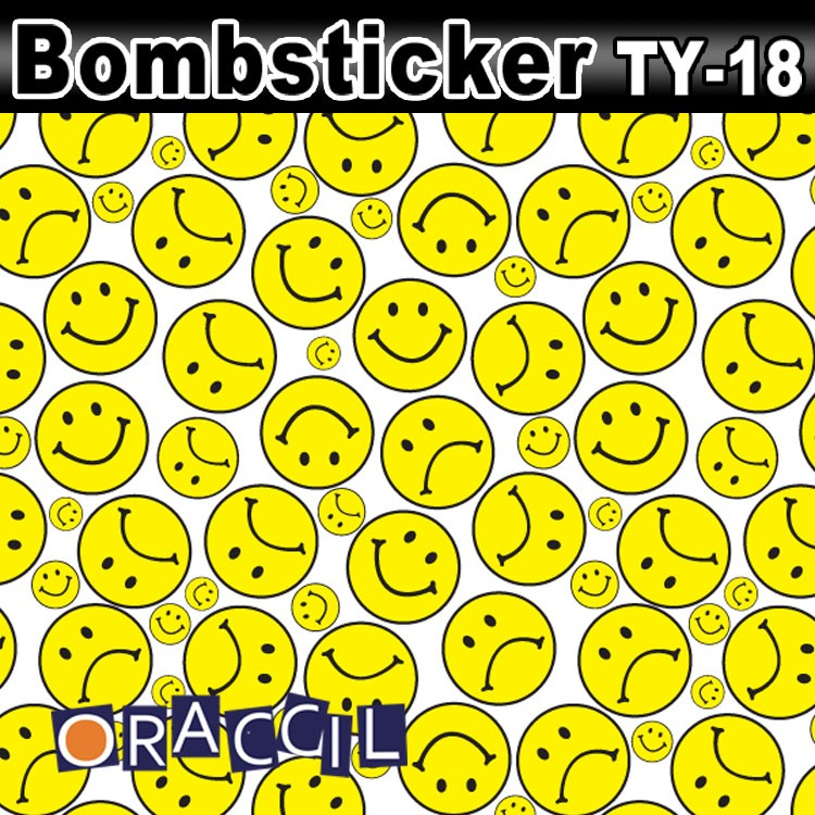 Car Clothes T-18 1.52*30m air free bubbles Happy Smile Face Cartoon Bomb Wraps Vinyl Stickers Car