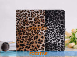 Hot Selling Leopard PU Leather Stand Case Cover for iPad Mini Retina with Factory Price F-IPDMINILC002