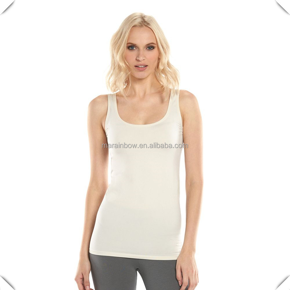 OEM supreme quality Women's Seamless Nylon/spandex Tank tops Tag-free with your logo for custom printing