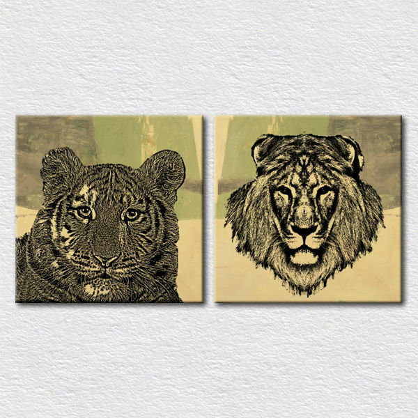 Tiger and lion wall pictures for office room decoration