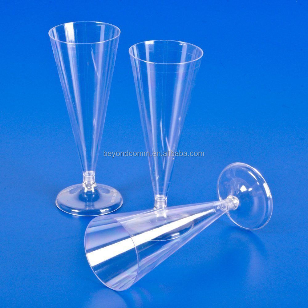 PLASTIC CHAMPAGNE FLUTE WINE GLASSES 6 oz Wedding Party Disposable
