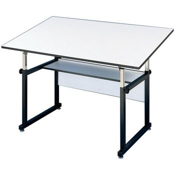 A 4-post drafting table that adjusts easily from front or rear for a comfortable work angle