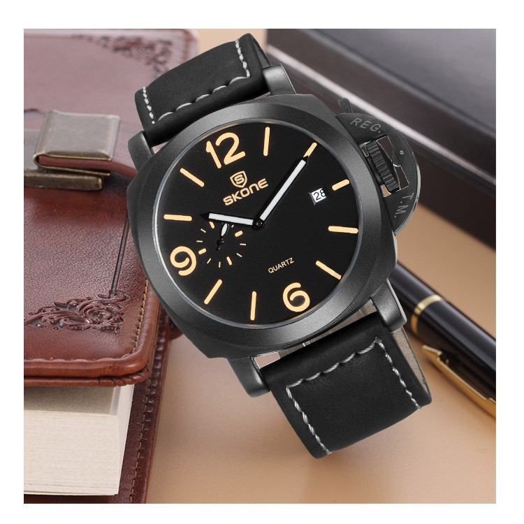 China Factory Black OEM Watch Custom Mens Leather Watches