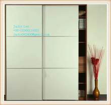 white wooden grain melamined MDF / chipboard sliding door almirah wardrobe
