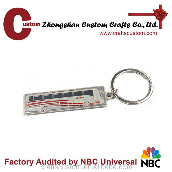 Promotional gift custom logo mini bus shape metal keychain