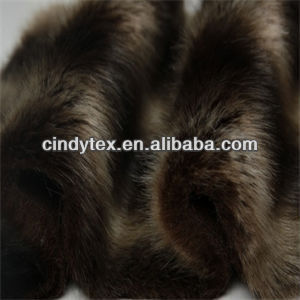 25mm 2-tone yellow brown short plushed acrylic polyester imitation fox fake fur fabric