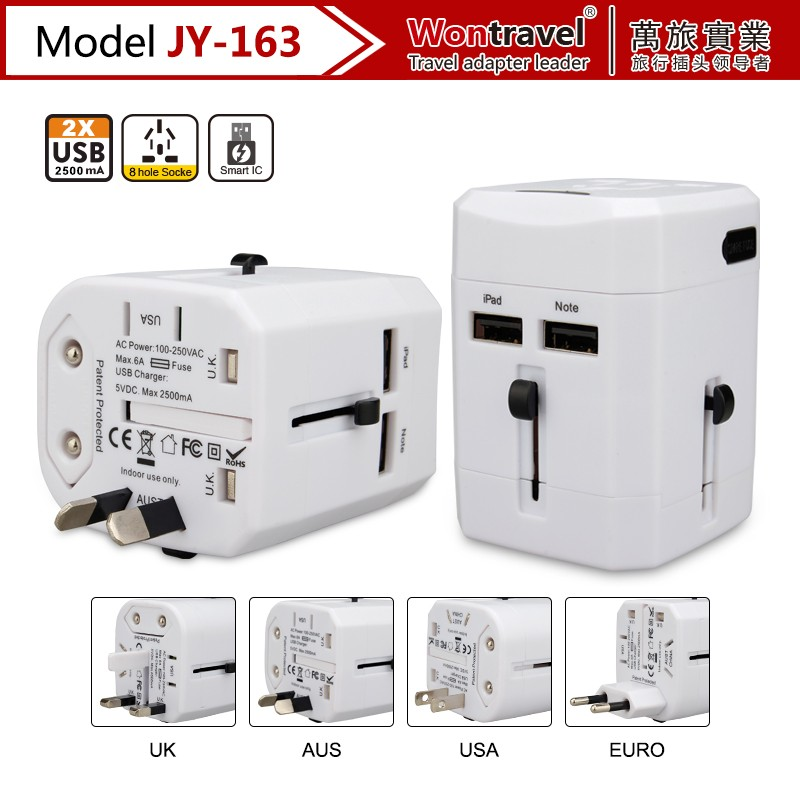 JY-163 Fashional portable universal travel adapter converter with power USB plug