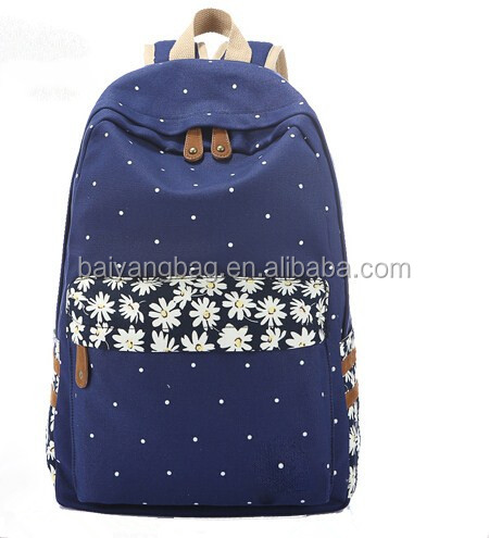 New arrival Dot printing backpack canvas school backpack