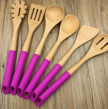 Attractive style wooden utensils, silicone handle kitchenware, wood cooking sets