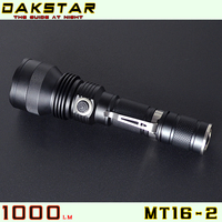 DAKSTAR MT16-2 XM-L U2 1000LM 18650 Aluminum Rechargeable Side Switch Stepless Diming Police CREE Swat Flashlight