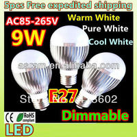 Free shipping Retail Dimmable Bubble Ball Bulb AC85-265V 9W/12W/15W E14 E27 B22 GU10 High power Globe light LED Light