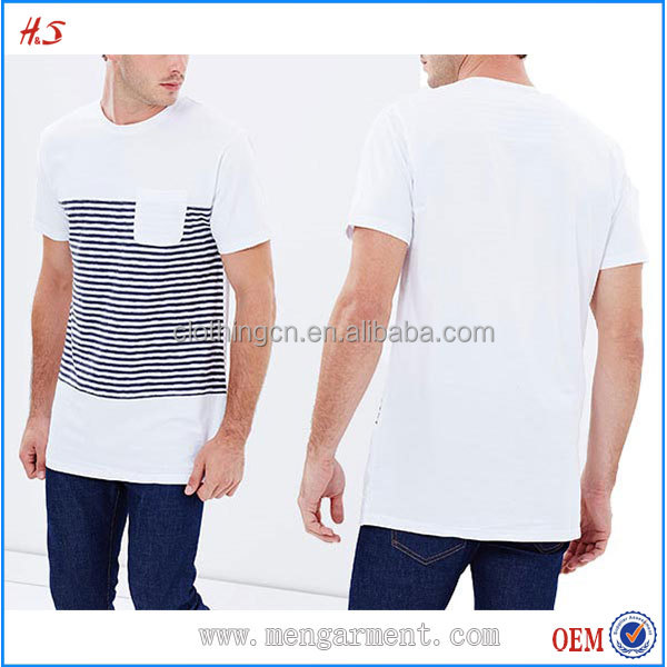 Fashion Men Clothing 100 Cotton Jersey Short Sleeve T-Shirts With Navy Stripes T Shirts From Manufacturer In China