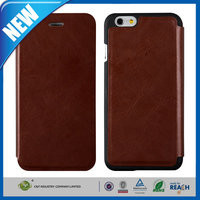 C&T Brown ultra thin card slots flip leather new trendy plastic pu case for iphone 6