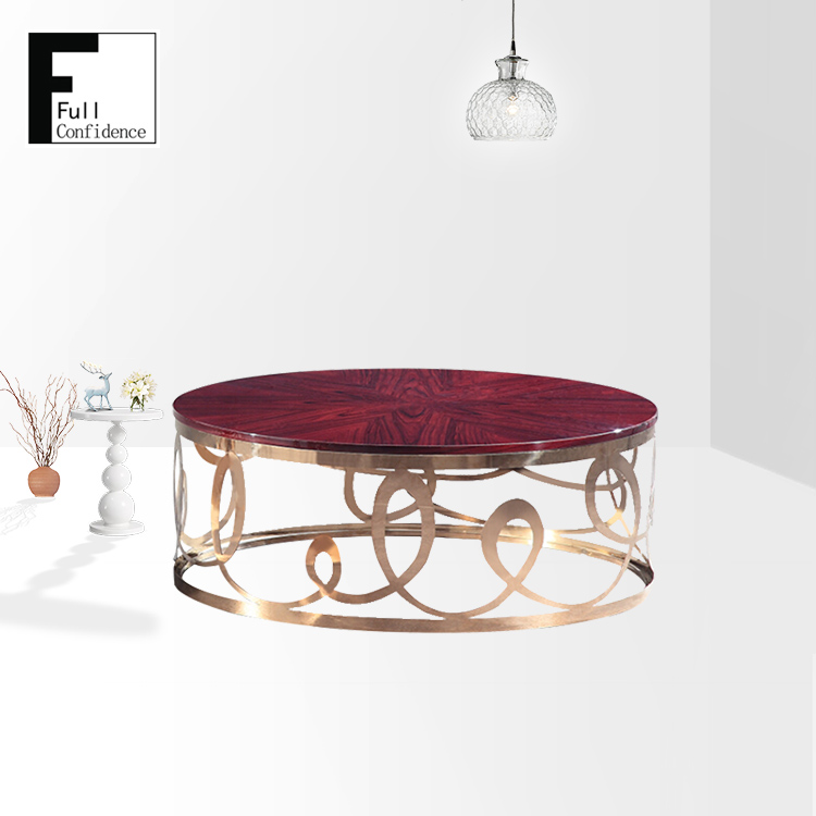 Wholesale Stainless Steel Rose Wood Veneer Golden Round Coffee Table