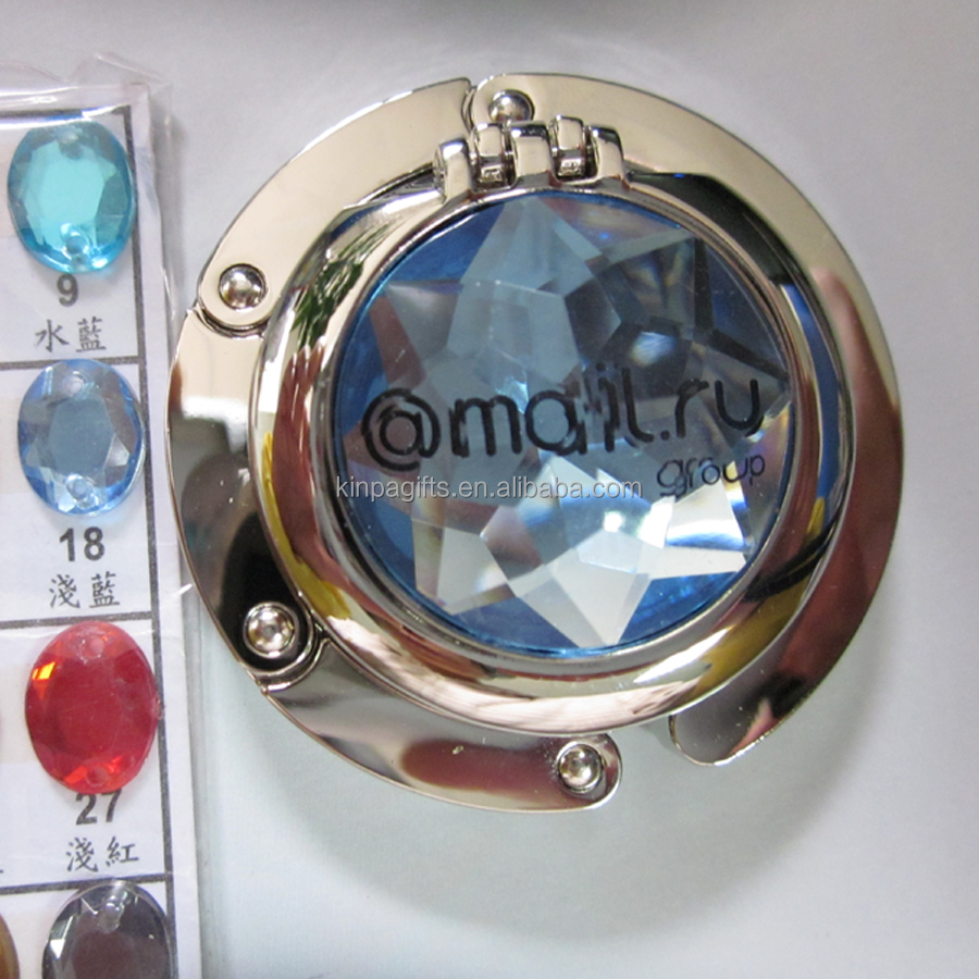Foldable Hand Bag Purse Hook Hanger Holder with Compact Mirror