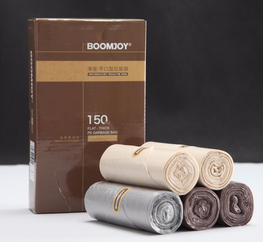 Boomjoy deluxe packaging plastic refuse bag garbage bags trash bag rolls for homeuse.