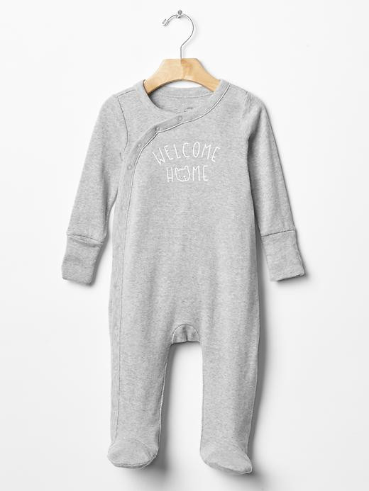 Favorite welcome kimono footed one-piece baby romper