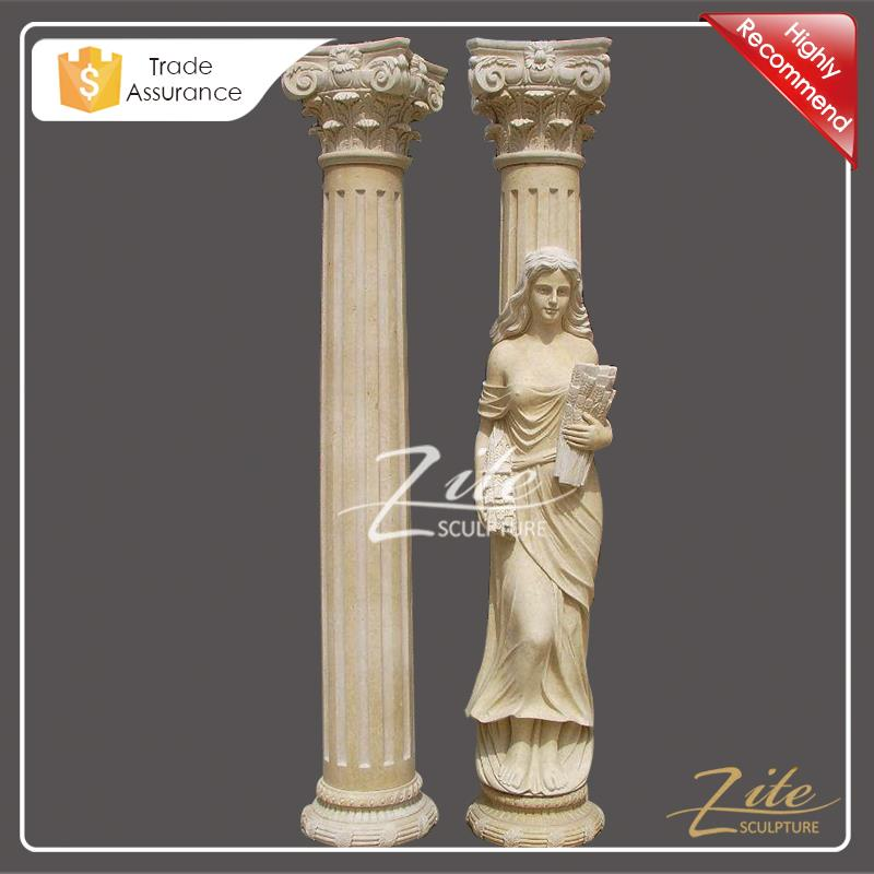High Workmanship beige natural roman stone pillar