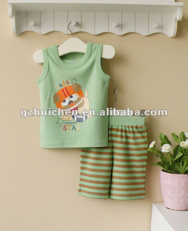 wwwSUNcom 2012 summer baby clothes print vest + shorts cotton 100%