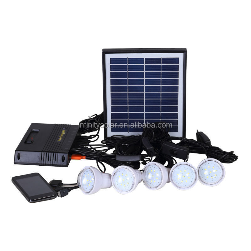 Low Cost Portable LED Solar Generator Kit for Home Use in No-Electricity Areas
