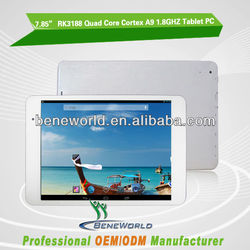 "7.85"" cheap RK3188 quad core tablet 1GB ram 8gb rom 1024*768p dual camera front 0.3mp rear 2.0mp"
