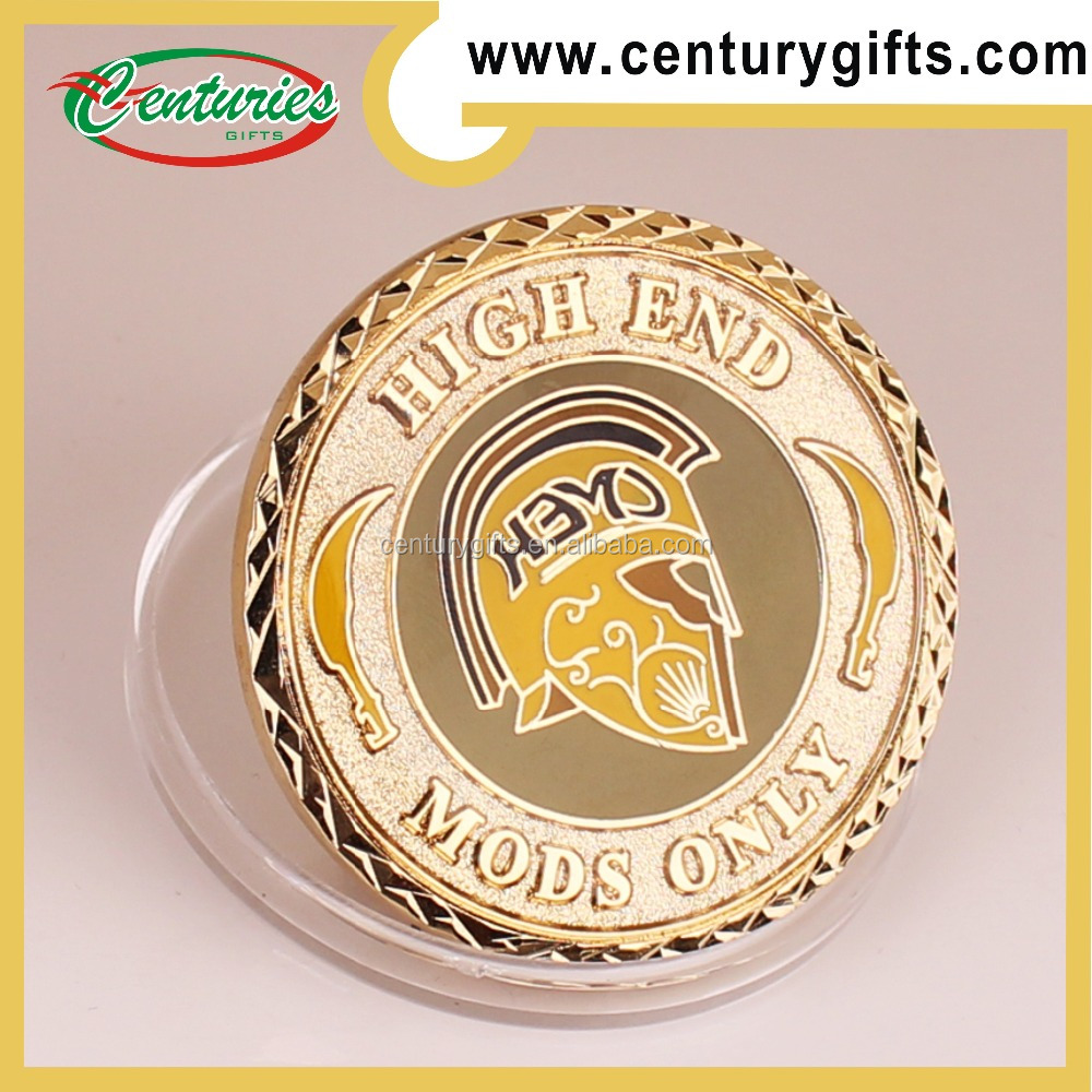 Kunshan high quality gold metal challenge coin,soft enamel, mods only, special edge, various designs and shapes are available