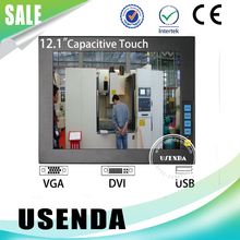 Embedded 12 inch lcd IR Infrared touch screen industrial monitor with metal frame