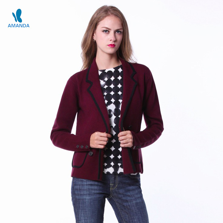 2015 new blaser women coats jackets autumn winter patchwork casual blaser coat female elegant knitting jackets women blasers