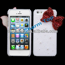 Bow Pearl Bling Plastic Cover For apple iphone5