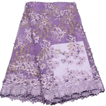 Best Quality XZLACE Purple Nigeria Laces French Dress Net Lace Fabric Wholesale 2017 African Embroidered Beads Tulle Fabric