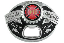 "Silver Tone Belt Buckle Displays A Fire Department ""Official Tailgater"" Belt Buckle With Bottle Opener Metal Fridge Magnet"