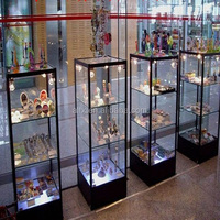 Luxury store wood glass jewelry display counter showcase jewelry store furniture for sale