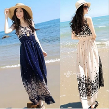 W72070G 2016 women dress long sleeveless chiffon maxi dresses bohemian beach latest fashion dresses for summer