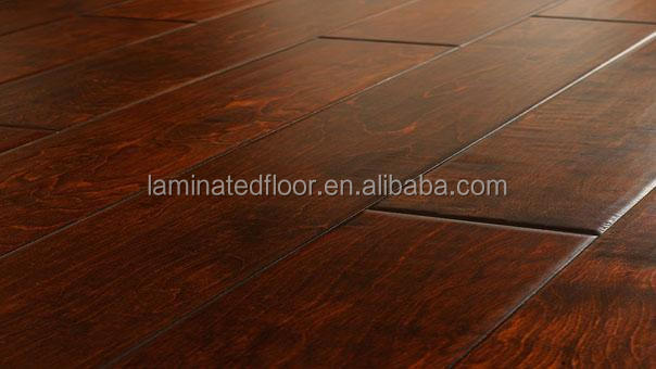 12.3mm Dark Maple wood grain laminate color lamiante flooring