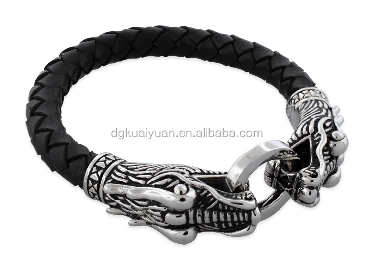 Hot sell mens dragon leather bracelet fashion asian jewelry