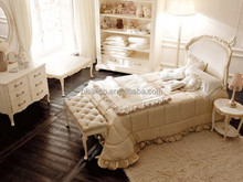 Victoria Style Carved Wooden Uphostered Bed, Ornate Design Children Bedroom Furniture Set, Child/Kid's Bed Set