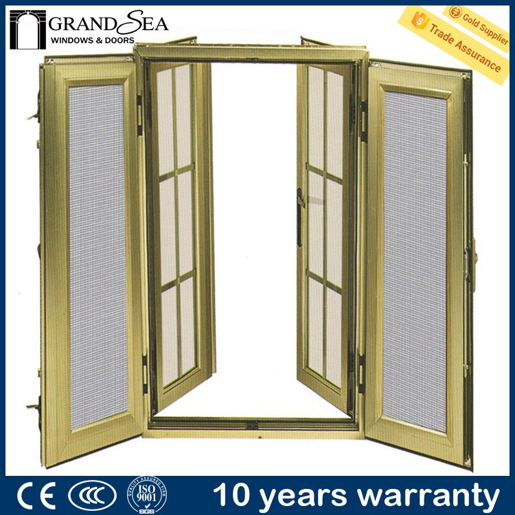 Standard size champagne color electric window mosquito net with grill design
