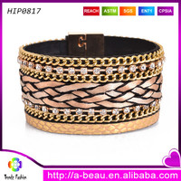Leather braided cord gold clasp chain bracelets for women