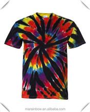 hot sale mens 100% cotton tie dyed short sleeve rainbow cut spiral t shirts