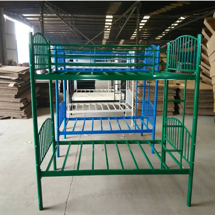 Steel Metal Frame Twin Bunkbed in Beige