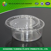 Disposable plastic round food container,plastic container with lid