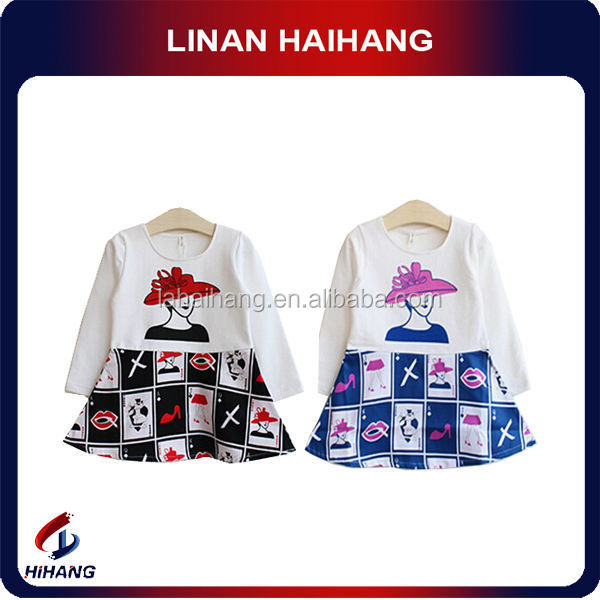 Hot sale 2014 blue prints picture of children casual dress