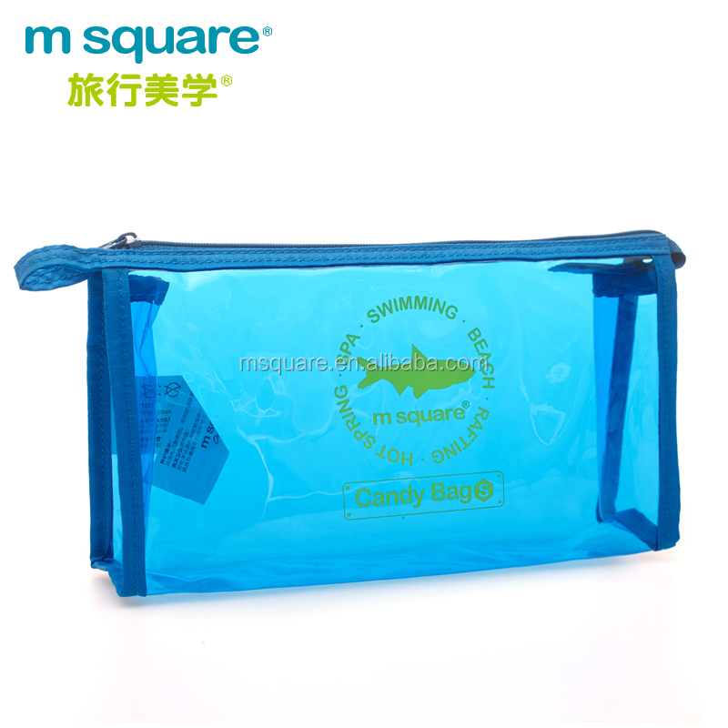 clear PVC m square soft zipper basics mini cosmetic bag with logo printed