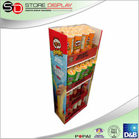 Point of sales eco friendly crisps display for shop, pop display for pringles chips, food promotional shelf by china supplier