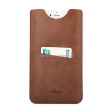 Card Slot Pull Tab Sleeve Pouch Universal Leather Bag Case for iPhone8