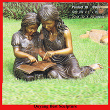 Beautiful Life Size Bronze Two Girls Reading a Book Statue Sculpture on Sale